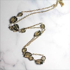 J. Crew Jewelry Long Gold Tone Stone Necklace